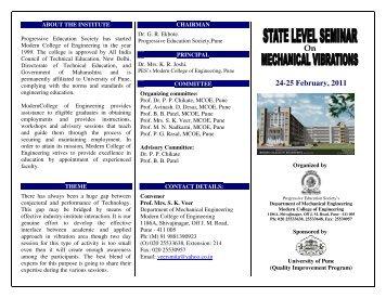 24-25 February 25 February, 2011 - Modern College of Engineering