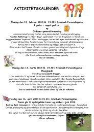 Aktivitetskalender til Havenyt 2013