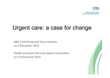 Urgent care: a case for change