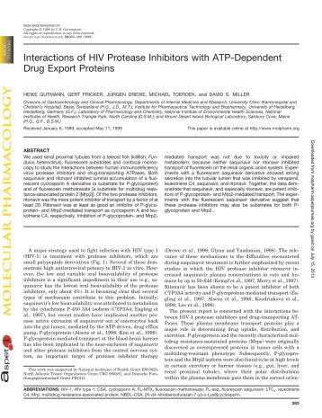 Interactions of HIV Protease Inhibitors with ATP-Dependent Drug ...