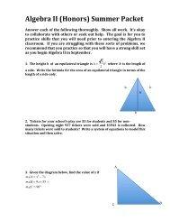 Algebra II (Honors) Summer Packet