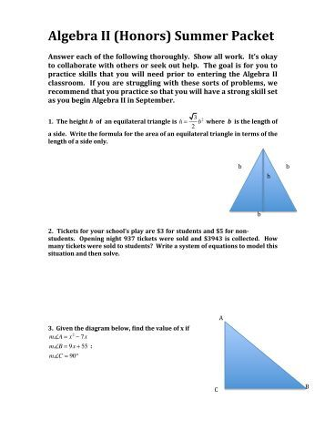 algebra 2 summer packet answers 2014
