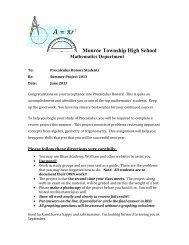 Precalculus Honors - Monroe Township School District