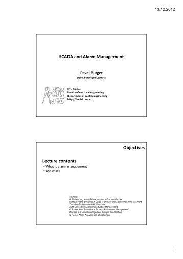 SCADA and Alarm Management - DCE FEL ČVUT v Praze