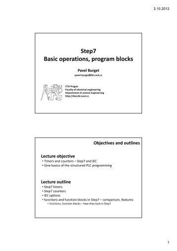 Step7 Basic operations, program blocks - DCE FEL ČVUT v Praze