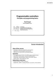 Programmable controllers - DCE FEL ČVUT v Praze