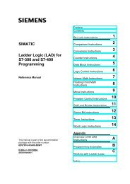 Ladder Logic (LAD) for S7-300 and S7-400 Programming