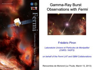 Gamma-Ray Burst Observations with Fermi - Rencontres de ...