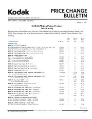 Price Change Bulletin - Kodak