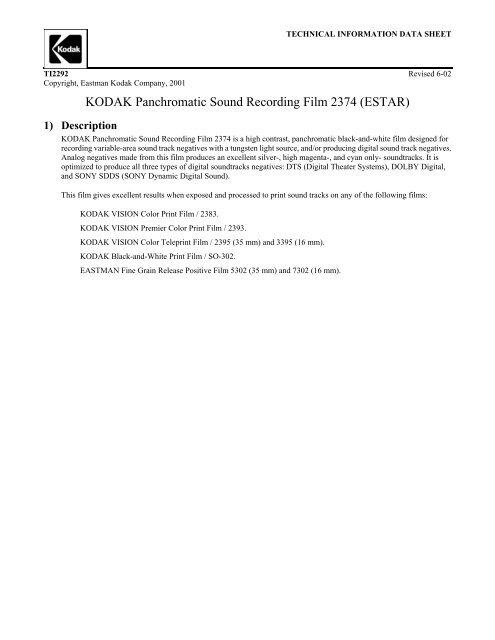 KODAK Panchromatic Sound Recording Film 2374 (ESTAR)