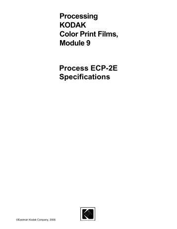 Process ECP-2E Specifications - Kodak