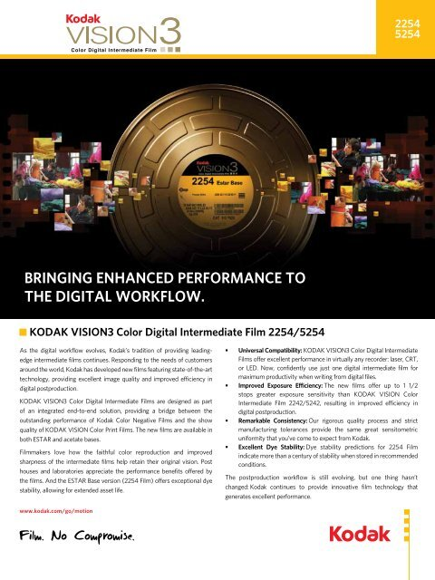 bringing enhanced performance to the digital workflow. - Kodak