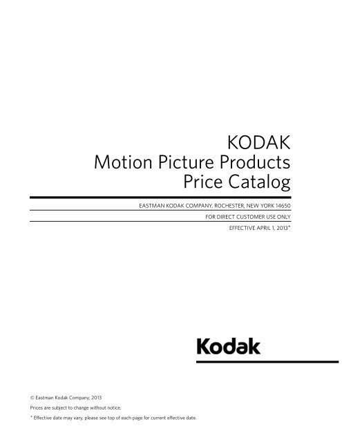 Kodak Motion Picture Products Price Catalog US Prices