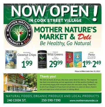 MOTHER NATURE'S MARkET & Deli Be Healthy, Go Natural