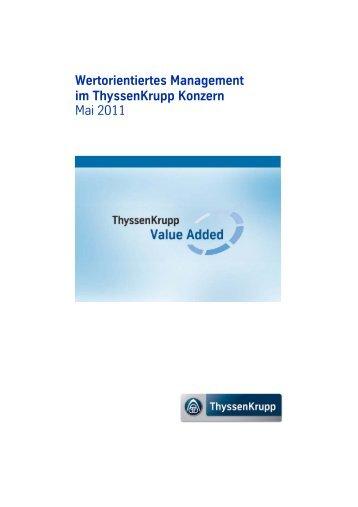 Wertorientiertes Management im ThyssenKrupp Konzern Mai 2011