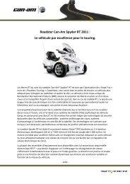 Roadster Can-Am Spyder RT 2011 : Le véhicule par ... - MotorShow