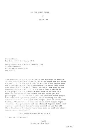 do the right thing script pdf