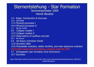Sternentstehung - Star Formation