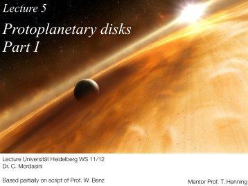 L5 Protoplanetary disks Part I