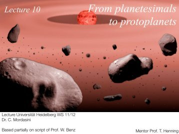L10 From Planetesimals to protoplanets