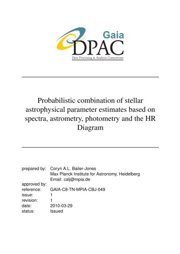 Probabilistic combination of stellar astrophysical parameter ...