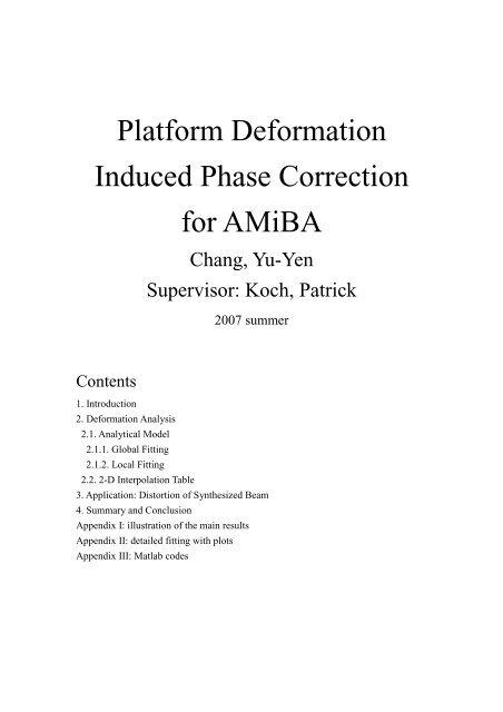 Platform Deformation Induced Phase Correction for AMiBA