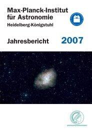 Max-Planck-Institut für Astronomie - Jahresbericht 2007