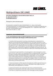 Antwort DIE LINKE - Assoziation ökologischer Lebensmittel Hersteller