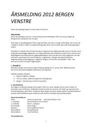 Styrets innstilling til årsmelding for lokallaget - Venstre