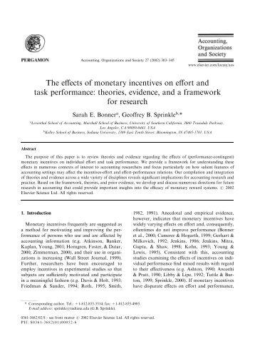 The effects of monetary incentives on effort and task performance - Arts