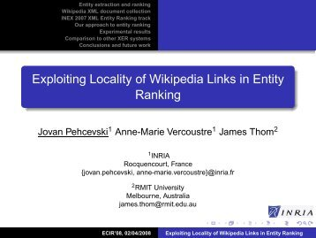 Exploiting Locality of Wikipedia Links in Entity ... - RMIT University