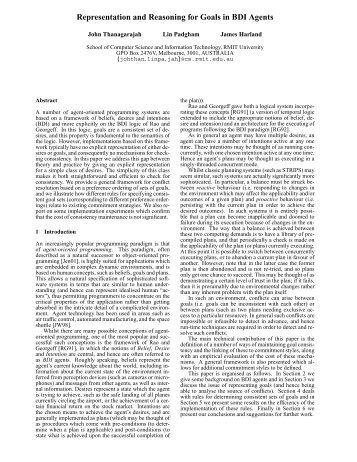 Representation and Reasoning for Goals in BDI ... - RMIT University