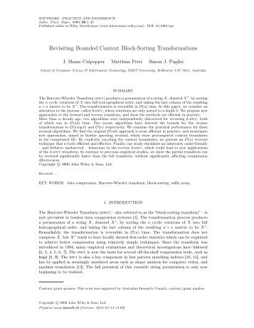 Revisiting Bounded Context Block-Sorting ... - RMIT University