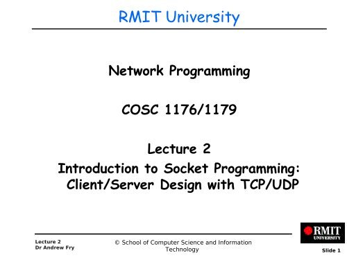 TCP Sockets - RMIT University