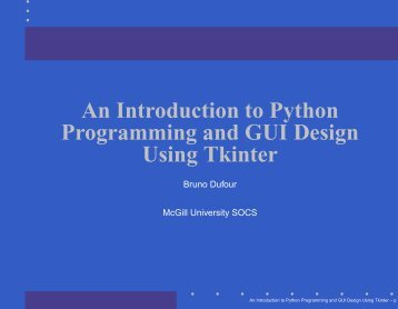 An Introduction to Python Programming and GUI Design Using Tkinter