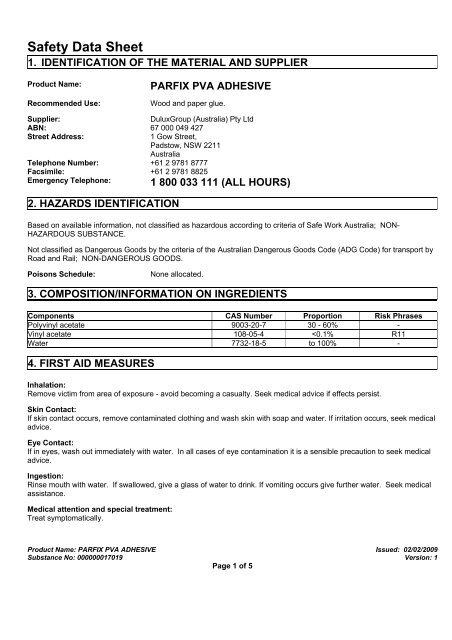 Safety Data Sheet 10  STA