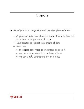 Review, more on objects, classes and methods. Scope - MSDL