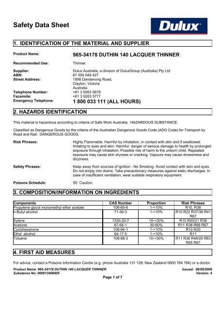 duthin 140 lacquer thinner - MSDS