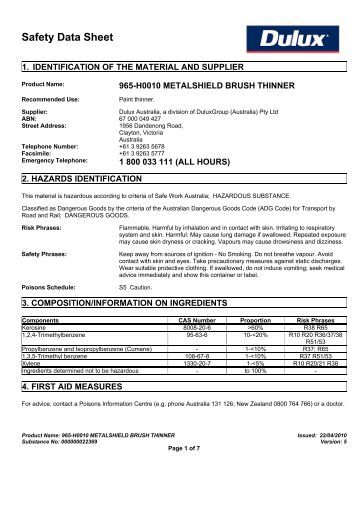 Dulux Urethane Thinners Msds