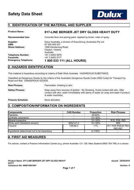 berger jet dry gloss heavy duty - MSDS