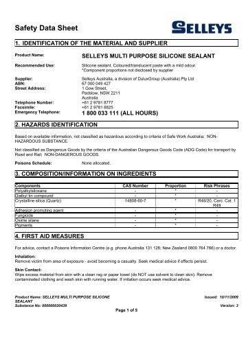 selleys multi purpose silicone sealant - MSDS