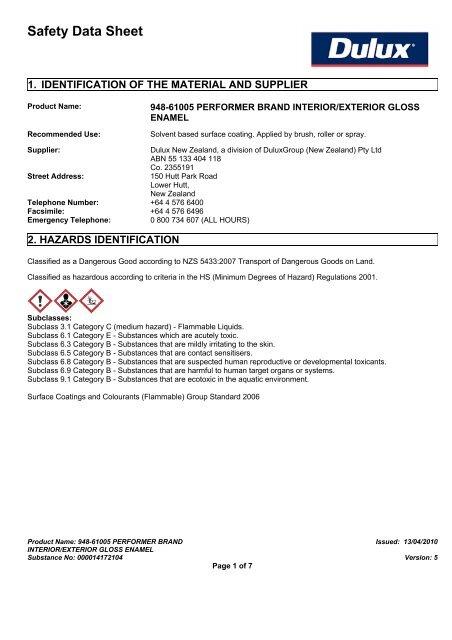 performer brand interior/exterior gloss enamel - MSDS