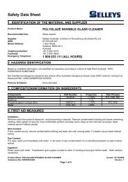 polyglaze invisible glass cleaner - MSDS