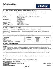 british trade ultra low sheen white - Safety Data Sheets