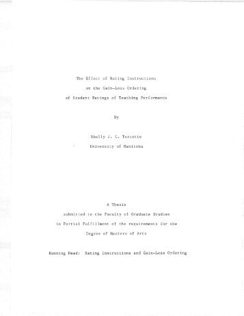 The Effect of Rating Instructions SheIly J. C. Turcotte UniversÍty of ...