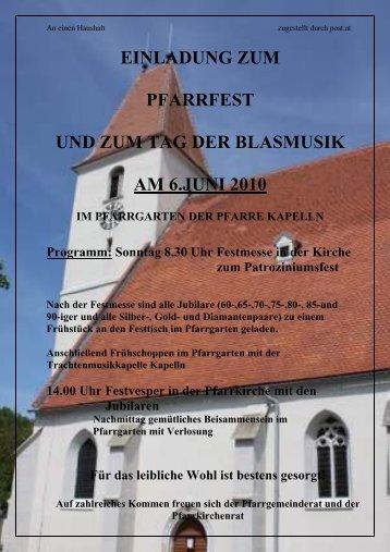 einladung zum pfarrfest und zum tag der blasmusik am 6.juni 2010