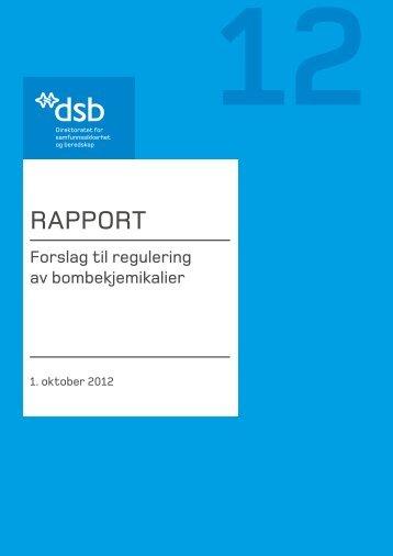 RAPPORT: Forslag til regulering av bombekjemikalier