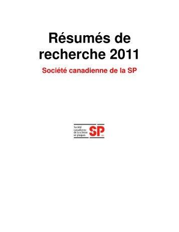 Résumés de recherche 2011 - Multiple Sclerosis Society of Canada