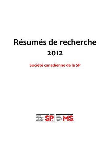 Résumés de recherche 2012 - Multiple Sclerosis Society of Canada