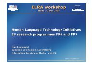 Human language technology initiatives - Machine Translation Archive